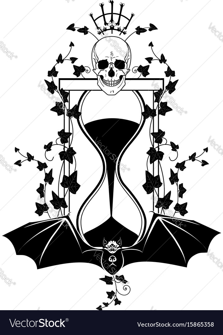 Sandglass ivy and skull vector image