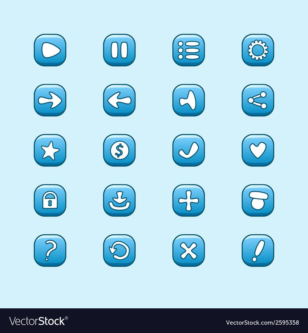 Set of mobile blue elements for UI Game Design set
