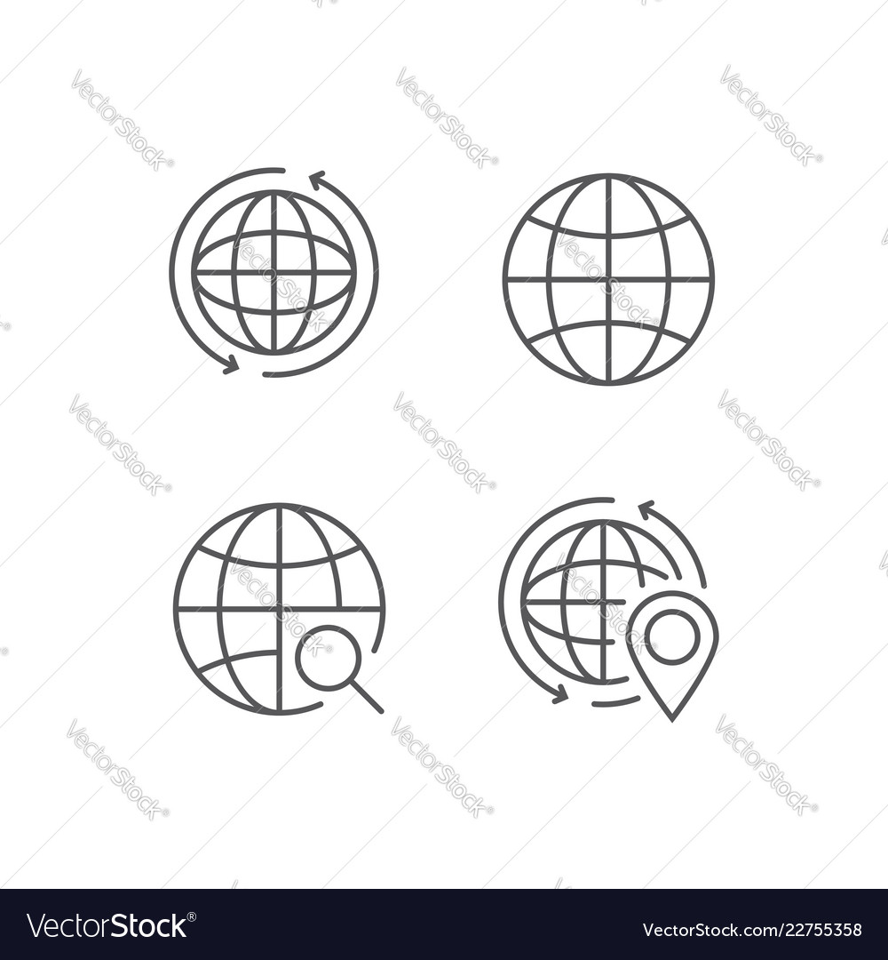 Simple set of globe outline icons