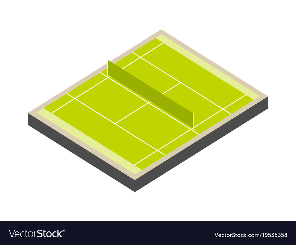 Tennis court isometric isolated on white