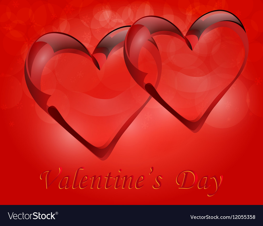 Two Transparent Hearts In Rock Crystal Symbol Of Vector Image