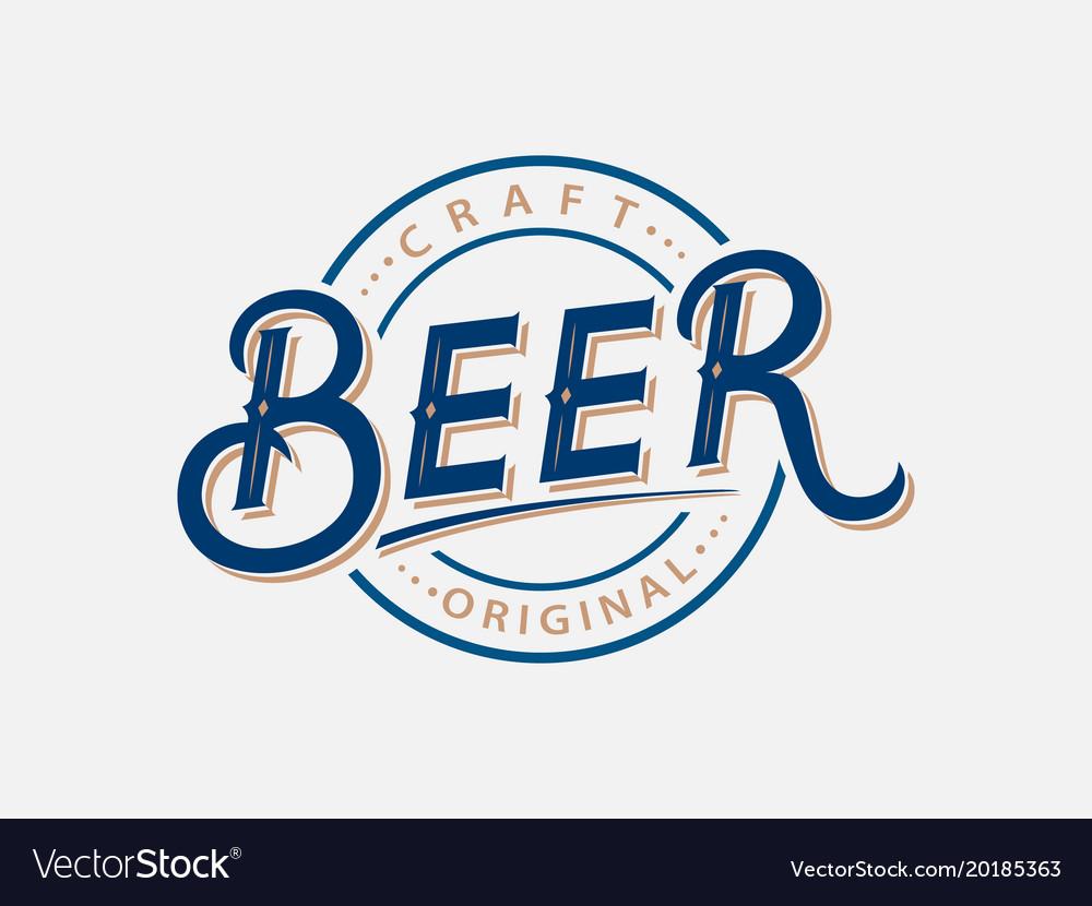 Beer hand written lettering logo label