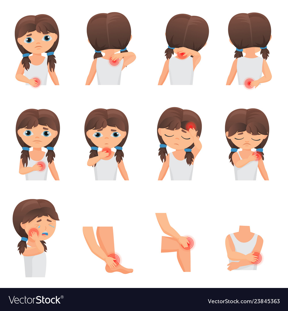 Body parts pain child diseases infographic set