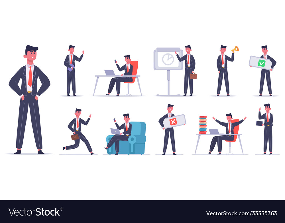 Businessman character male office worker success