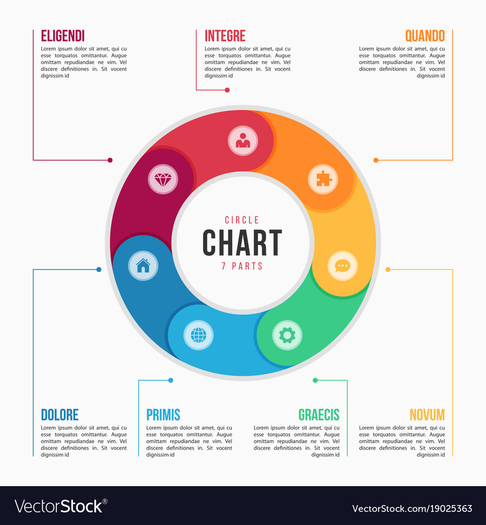 circle chart infographic template with 7 parts vector image