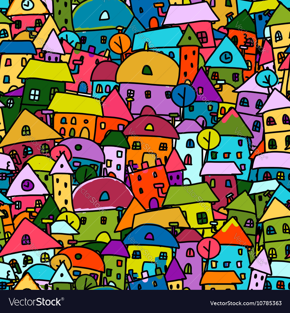 Colorful city seamless pattern for your design