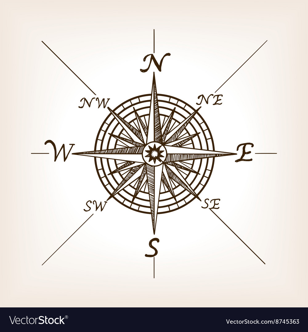 Compass Rose Sketch Style Royalty Free Vector Image