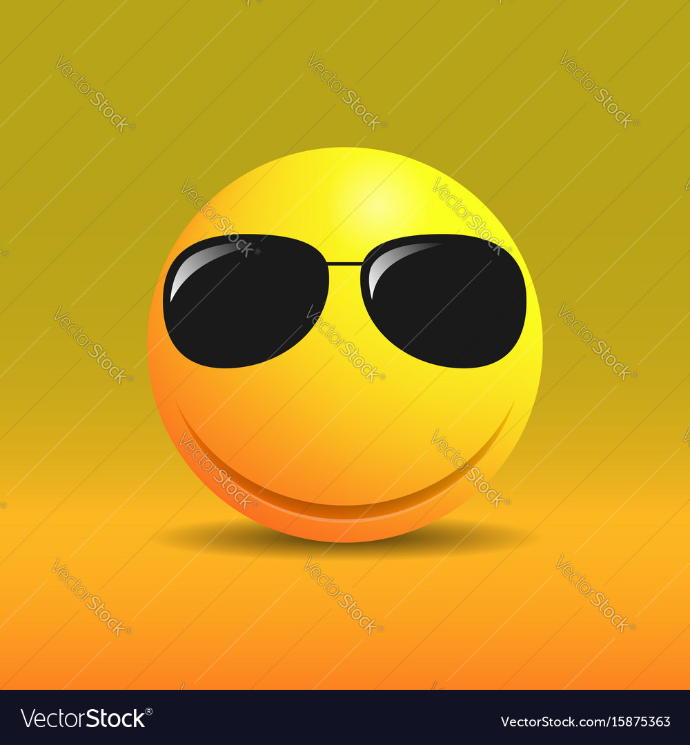 Cute smiling emoticon in sunglasses