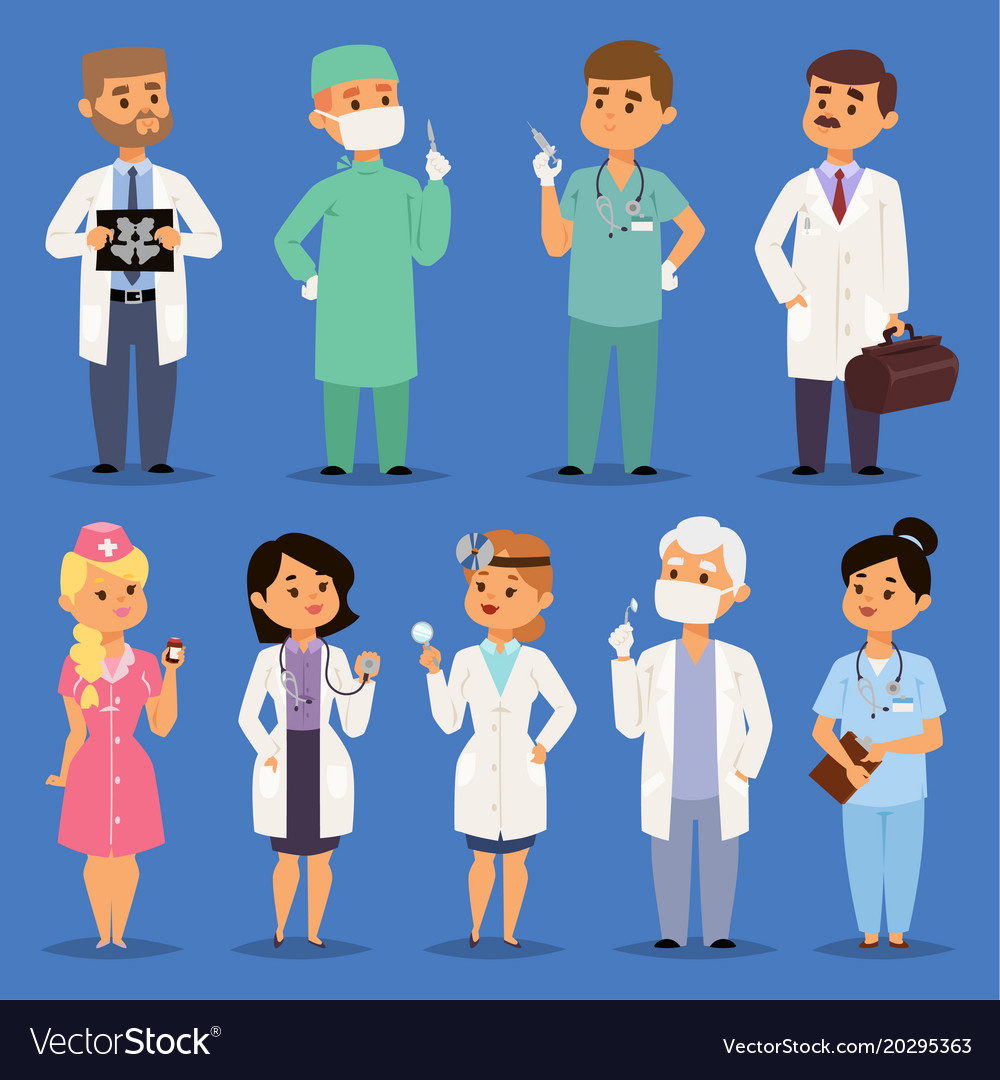 Doctors male and female doctoral character vector image