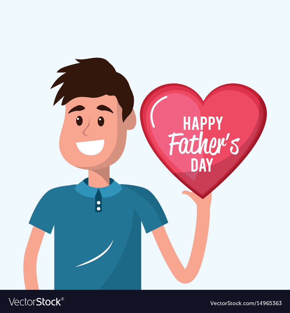 Father with heart in the hand to father day
