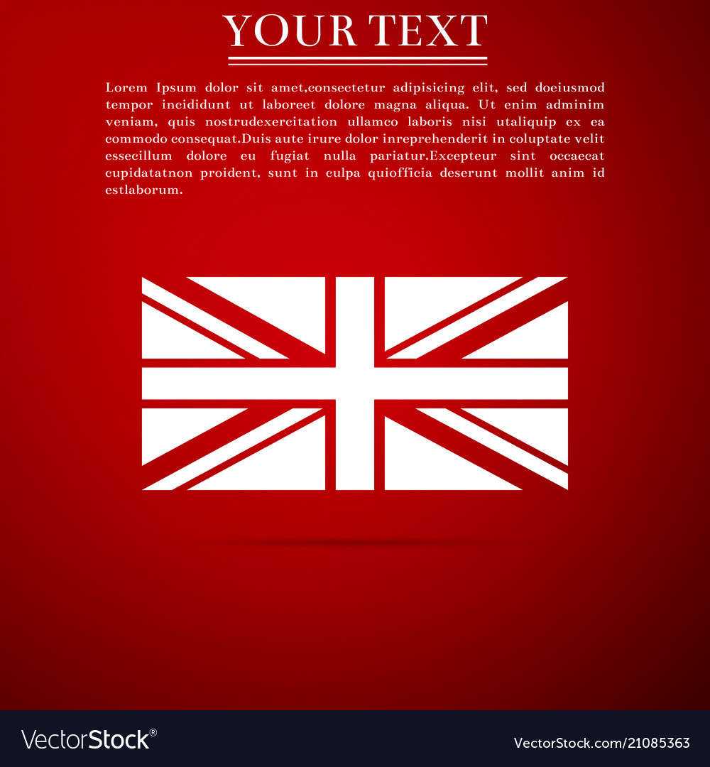 Flag of great britain icon on red background