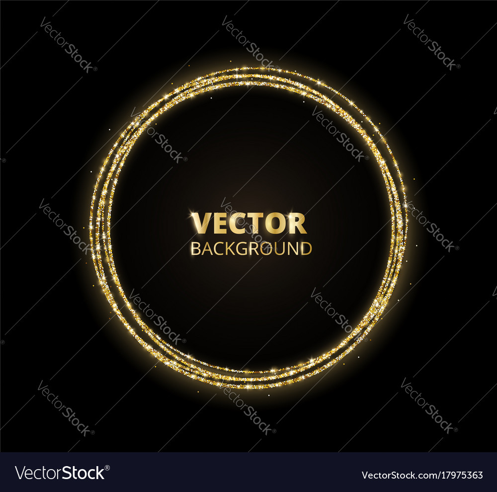 Golden sparkle background glitter circle frame