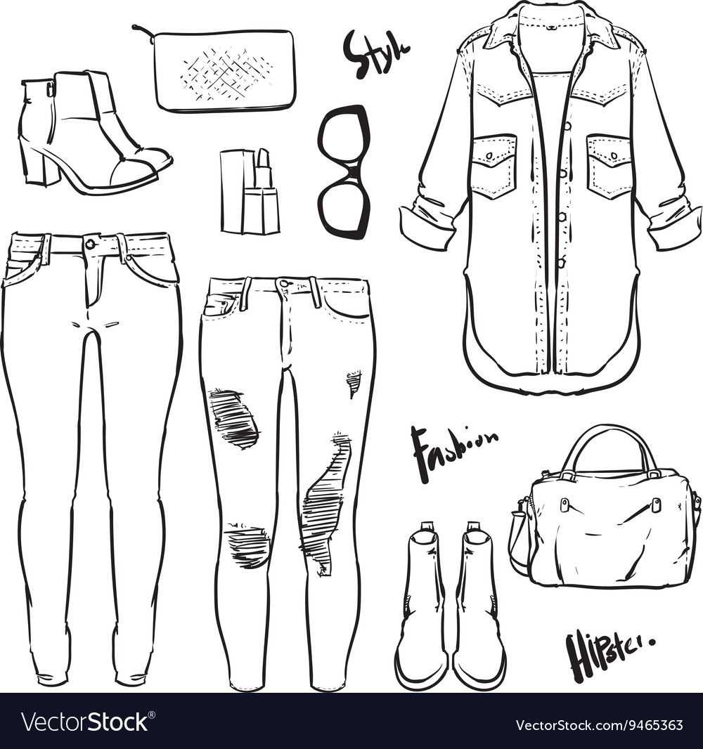 Hand drawn fashion Collection of womens outline