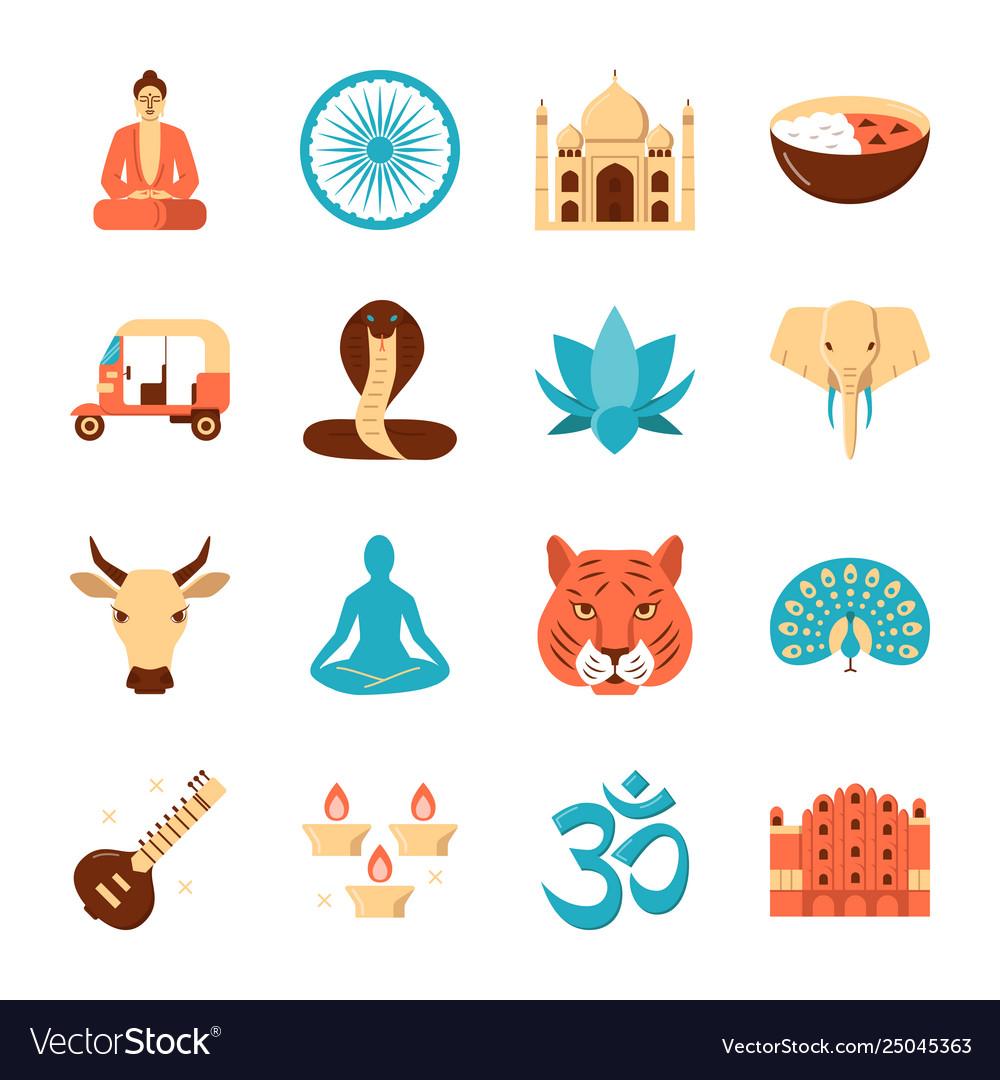 India national symbols icons set in flat style