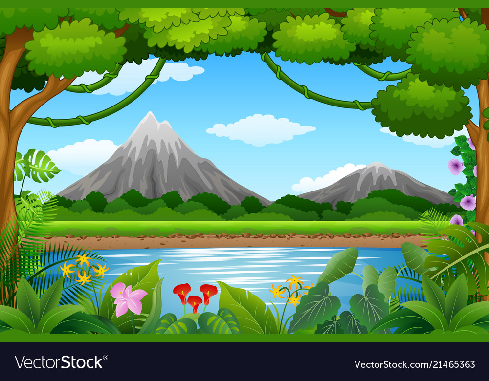 Landscape background with mountains and blue lake