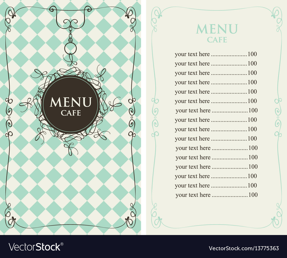 Menu for the cafe with price list