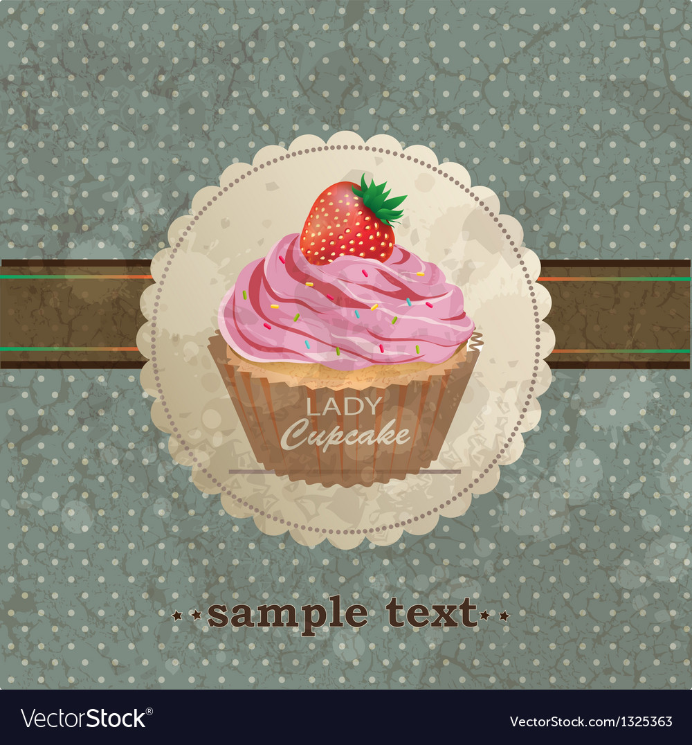 Retro background with cupcake vector image