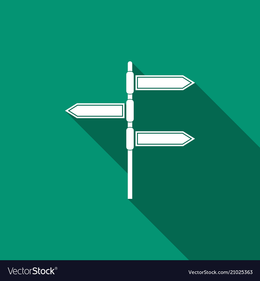 road traffic sign signpost icon with long shadow vector image