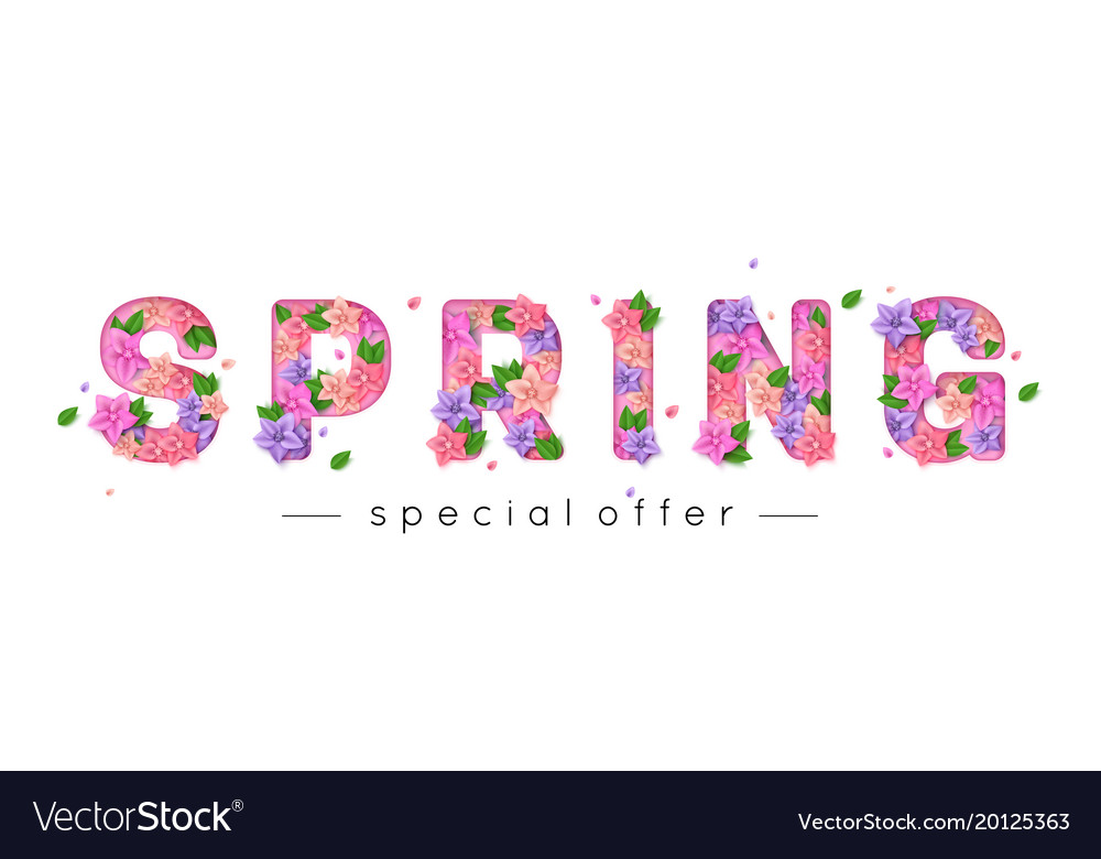 Spring Letters Decorated With Bright Paper Flowers
