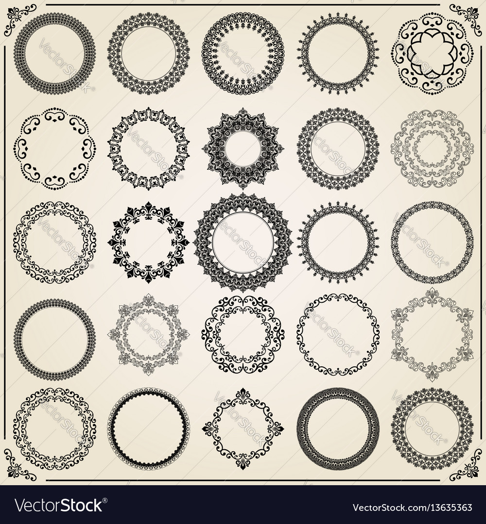 Vintage set of round elements