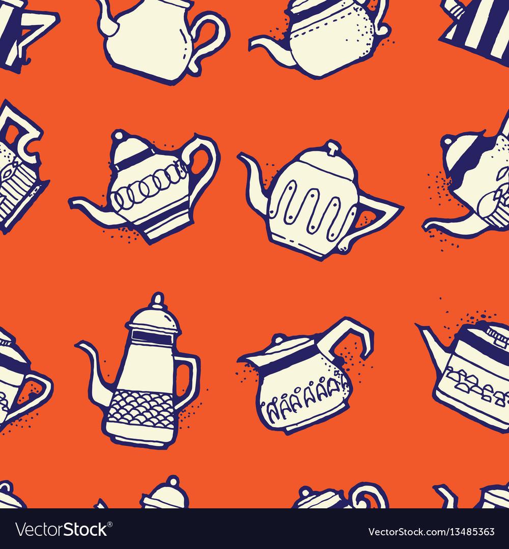 Vintage tea pots seamless pattern