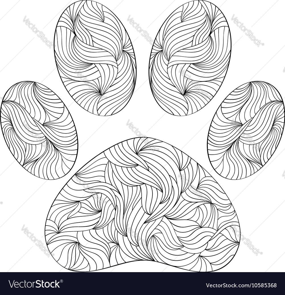 Animal paw print on white background