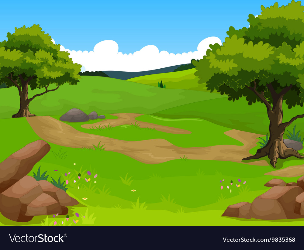 Beauty forest with landscape background