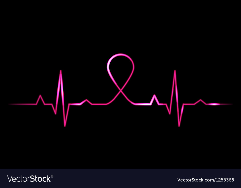 Cardiogram With Breast Cancer Symbol Royalty Free Vector