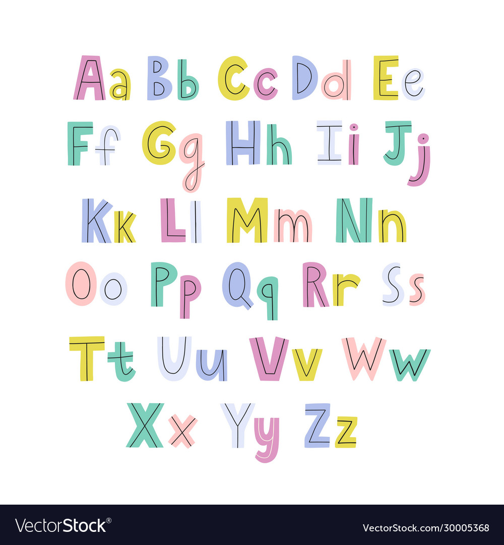 Colorful hand drawn alphabet with lowercase and