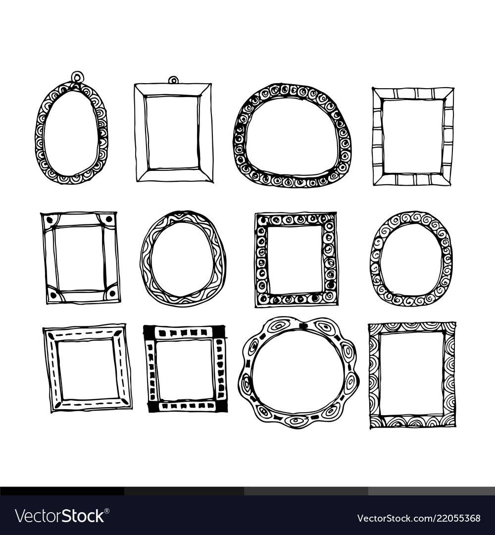 Hand Draw Frame Icon Design Royalty Free Vector Image
