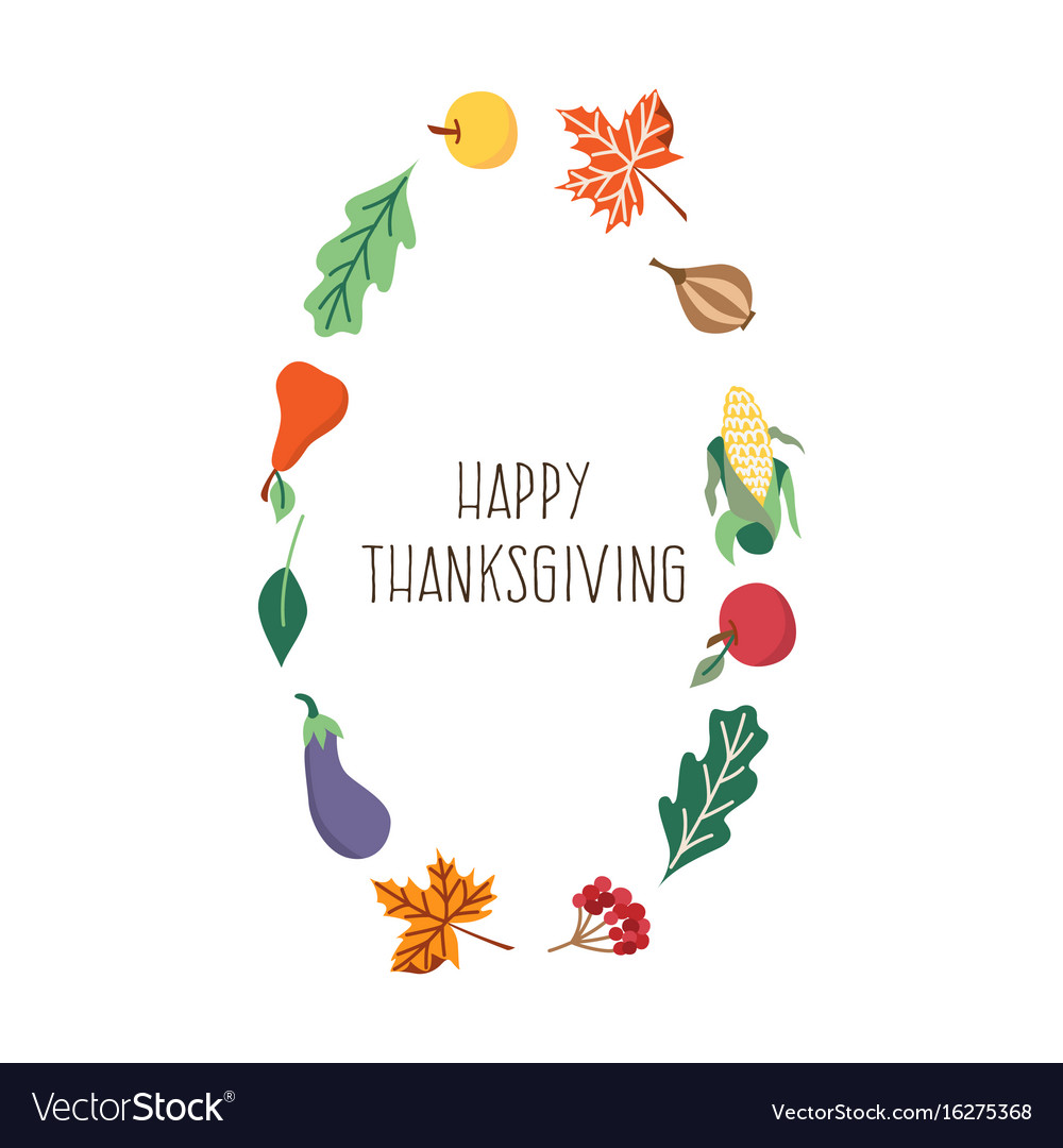 happy thanksgiving card template isolated vector image