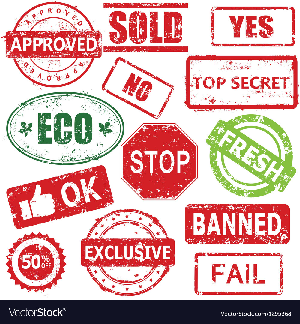 Set of stamps and labels vector image