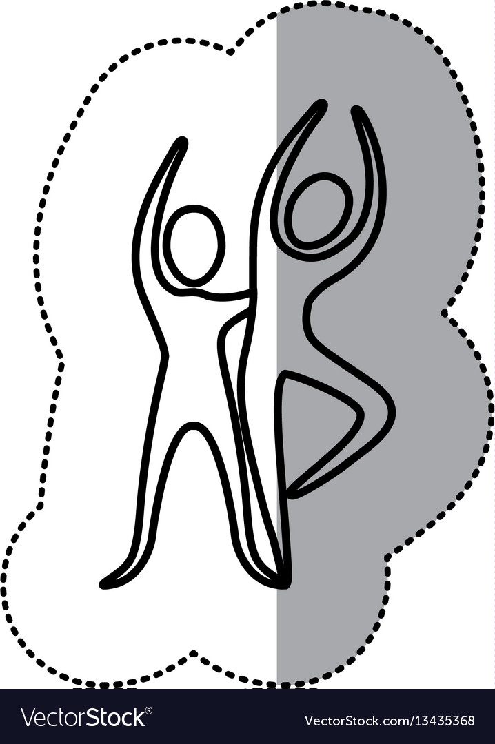 Sticker people couple dancing icon vector image