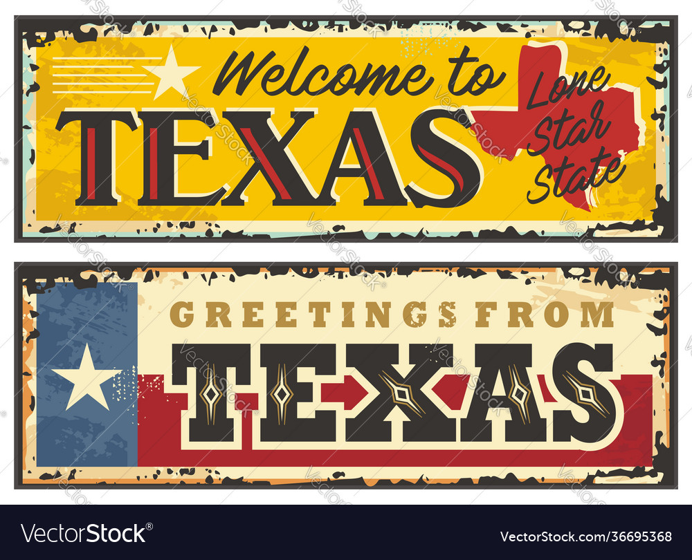 Texas sign boards in retro style