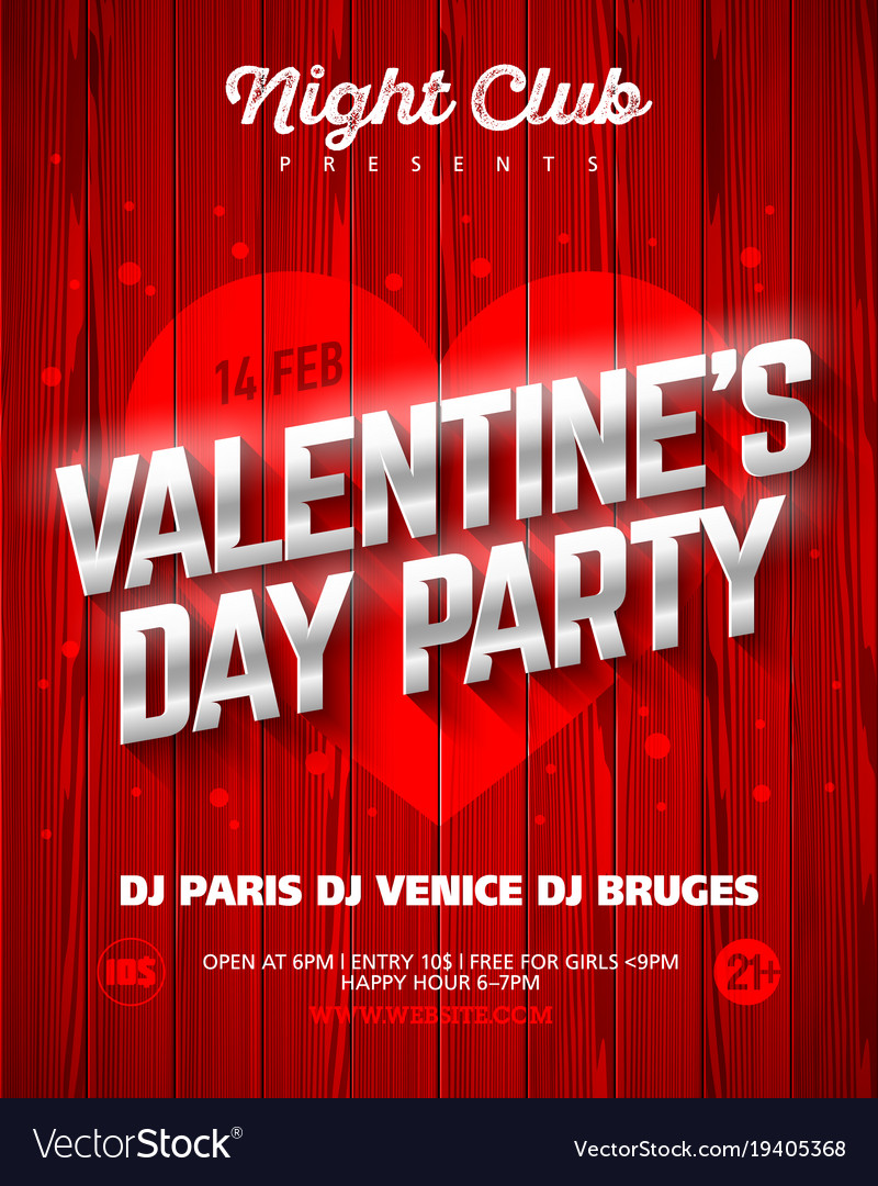 Valentines Day Party Poster Template Royalty Free Vector