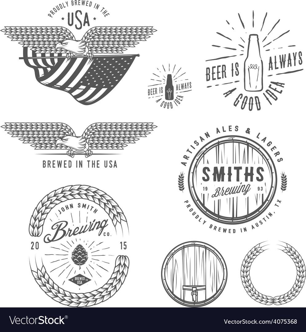 Vintage craft beer brewery design elements
