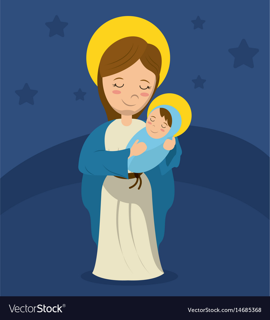 Virgin mary and child jesus blue bakcground vector image