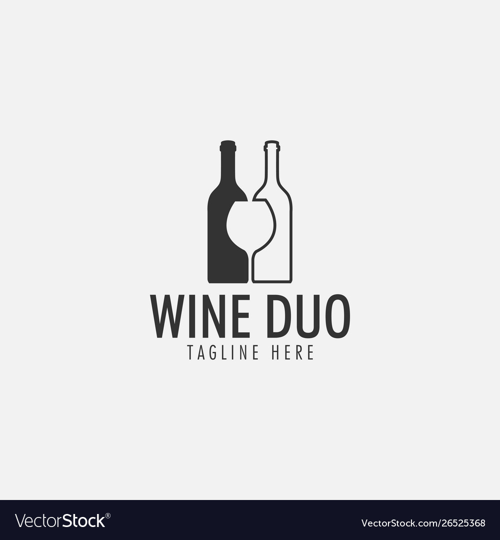 Wine duo logo design template isolated