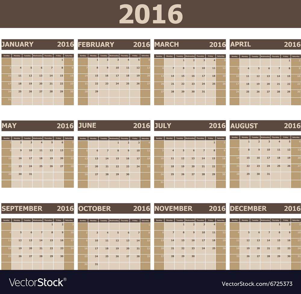 2016 Calendar week starts from Sunday vector image