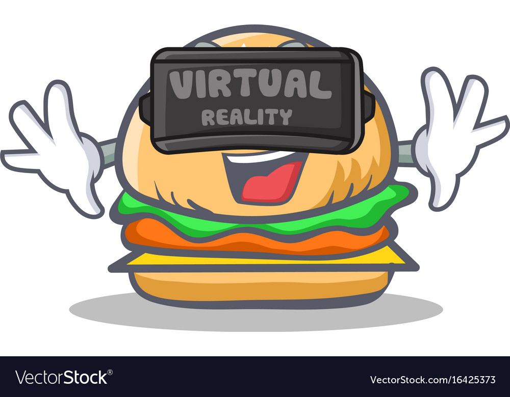 Burger character fast food with virtual reality vector image