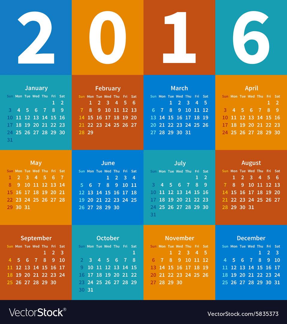 Calendar 2016 year in flat color