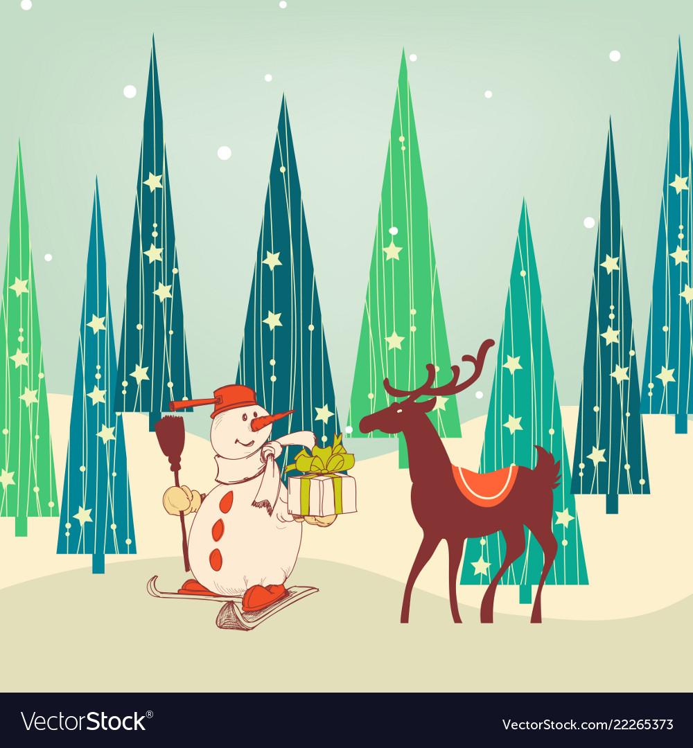 Cute christmas scene snowman and reindeer