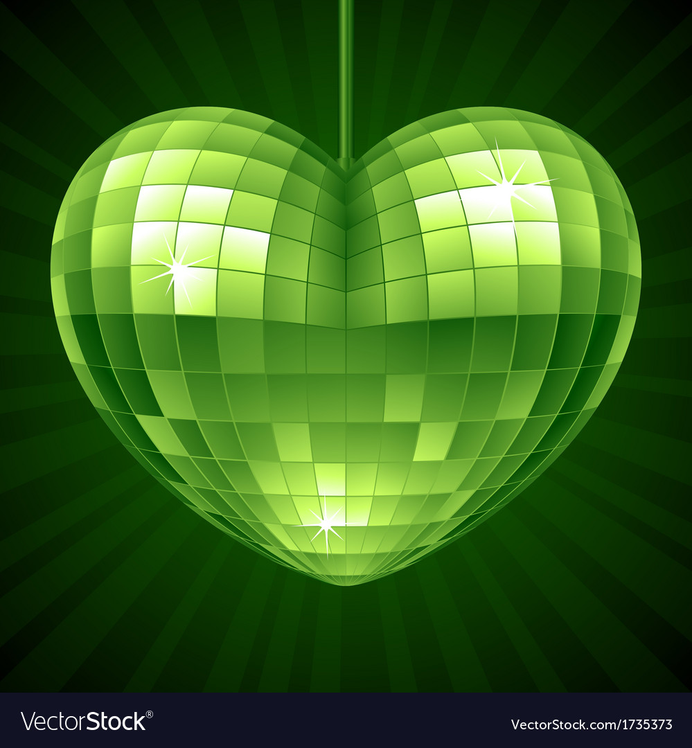 Disco Heart Green mirror disco ball