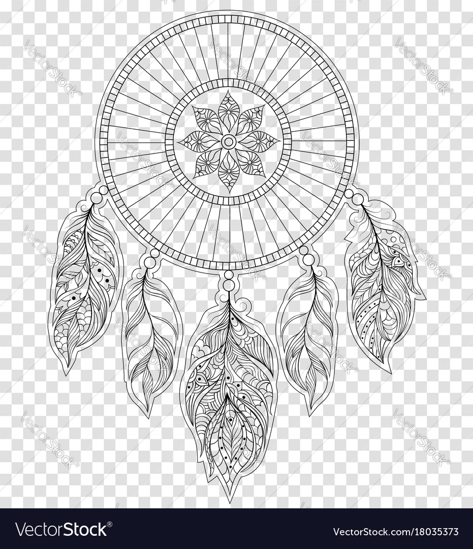 dreamcatcher on transparent background royalty free vector