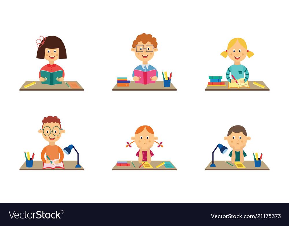 Flat kids studying at desks set