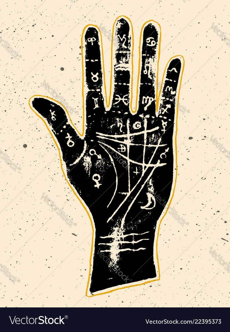 Palmistry hand on a white background