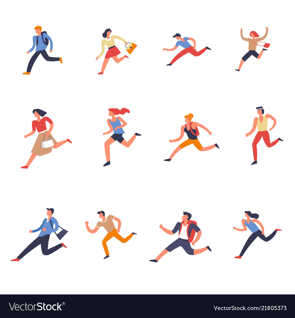 People males and females running forward set