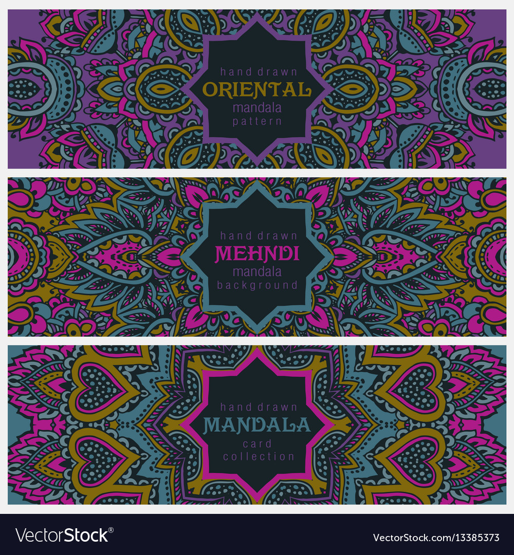 Set of three horizontal cards or flyers with