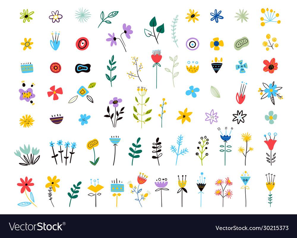 Set spring colorful flowers set floral