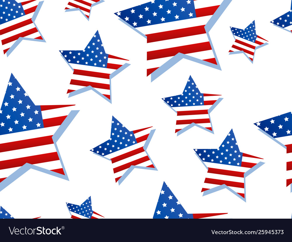 Stars with usa flag on white background seamless